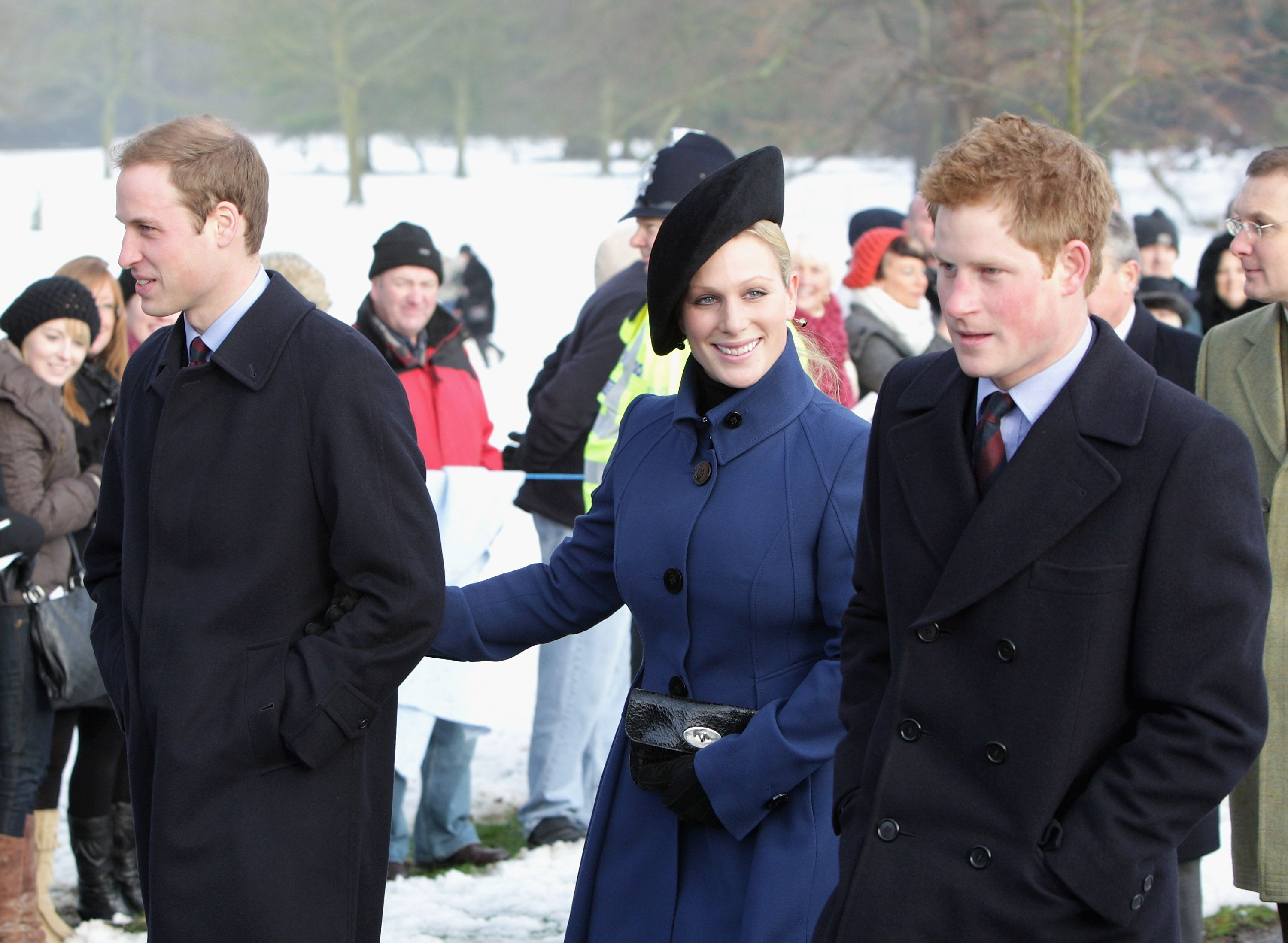 Prince William and Prince Harry with their cousin Zara Phillips (now Zara Tindall) on Christmas Day in 2009.