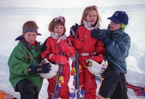 Prince William, and Harry, Princess Beatrice and Eugenie sking, in Klosters, Switzerland