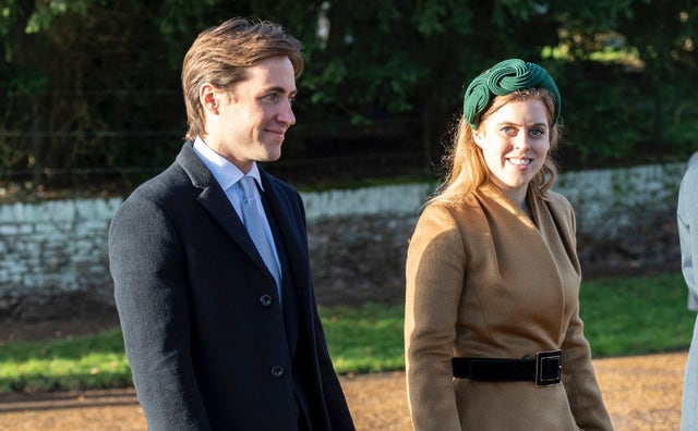 king's lynn, england   december 25 princess beatrice and edoardo mapelli mozziconi attend the christmas day church service at church of st mary magdalene on the sandringham estate on december 25, 2019 in king's lynn, united kingdom photo by uk press pooluk press via getty images