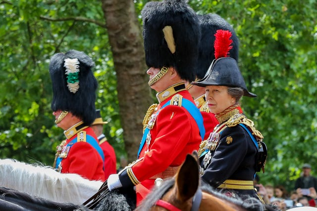 princess anne is seen making her way to the horse guards