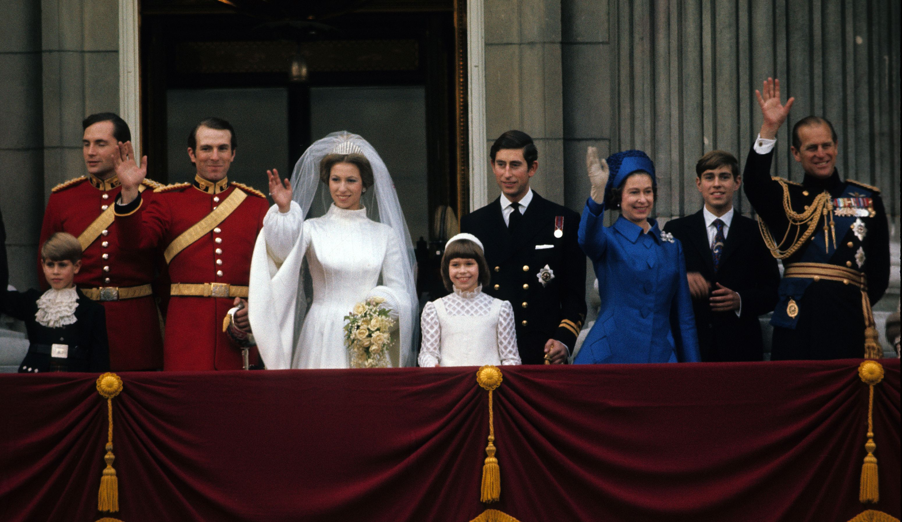 Princess Anne may be the Queen's second child, but she was the first to wed , marrying Olympic equestrian and retired military officer Mark Phillips in 1973. For her first turn as Mother of the Bride, Queen Elizabeth chose a regal blue coat dress with an inlaid diamond pattern, diamond-shaped fastenings, and a matching hat.