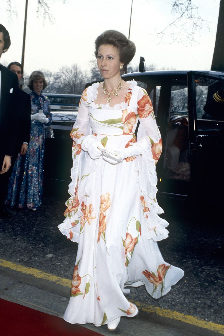 Princess Anne, the Queen's only daughter, wore a floral ruffled gown for an event at the Dorchester Hotel in London. The Princess finished the look off with elegant white evening gloves.
