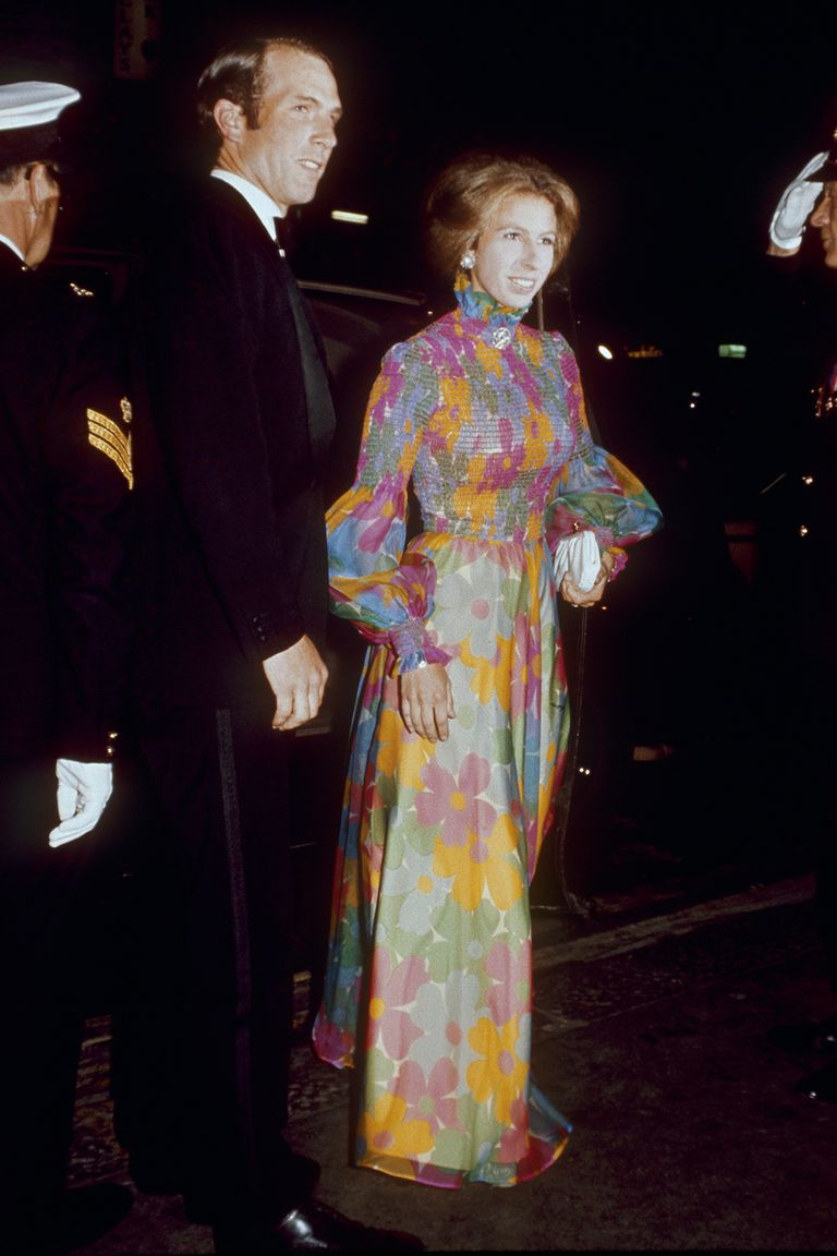 Princess Anne wore a floral printed gown with a sleek updo to a film premiere in London with her husband, Mark Phillips.