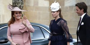 Princess Beatrice and Sarah Ferguson arrive at Lady Gabriella's wedding