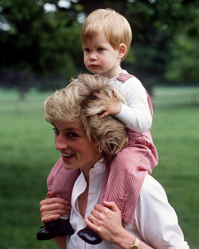 tetbury, united kingdom   july 18  princess diana carries prince henry harry on her shoulders at highgrove  photo by tim graham photo library via getty images
