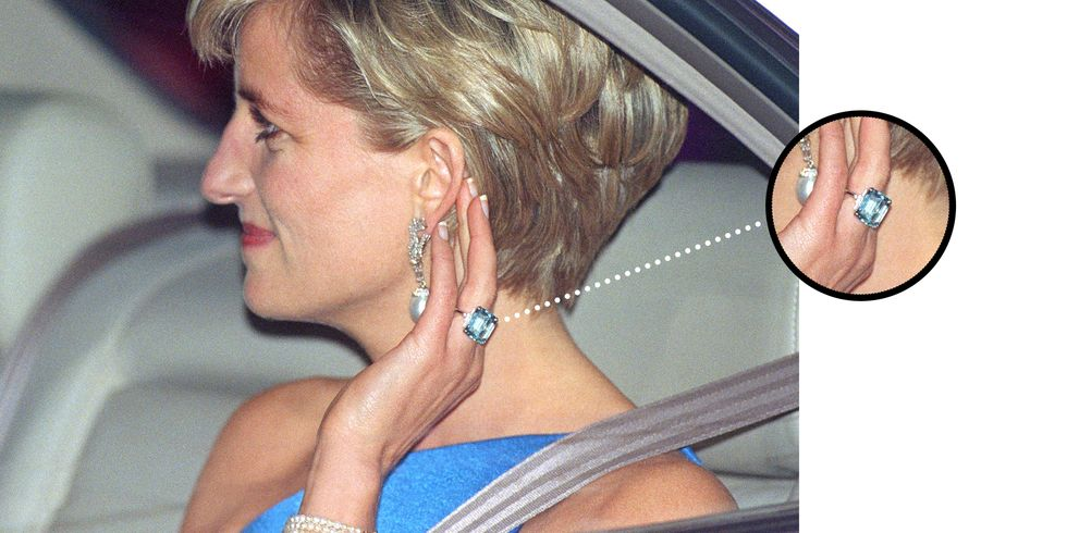 Diana Wearing the Ring on October 31, 1996 in Sydney, Australia The Duchess' aquamarine ring was in fact a piece from her late mother-in-law, Diana, Princess of Wales, who commissioned it from the British jeweler Aspery in 1996 around the time of her divorce from Prince Charles. She notably wore it at a private viewing and reception at Christie's before the auction of some of her gowns for charity and at a dinner in Sydney later that year.