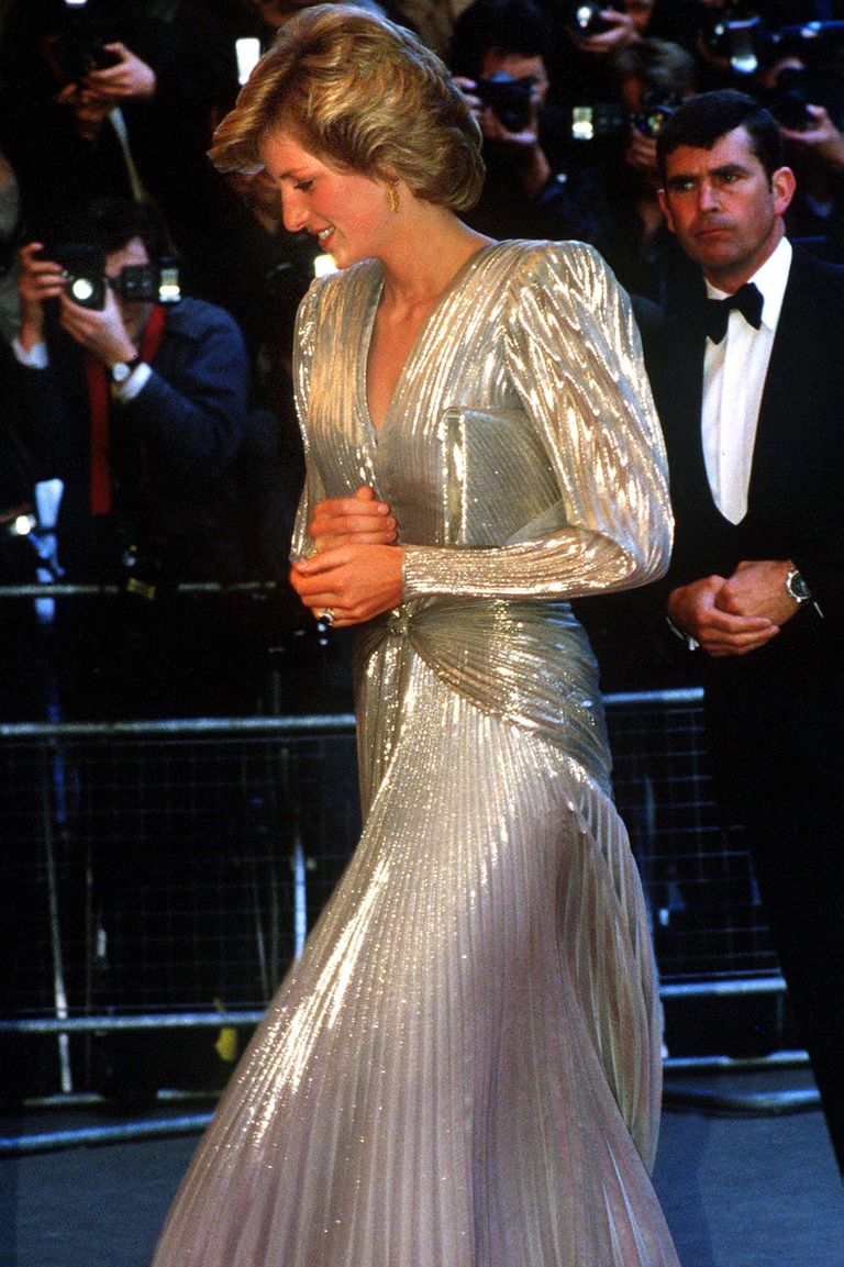 The Princess shined in a gold lame evening gown by Bruce Oldfield, which she wore to the premiere of the James Bond film A View to Kill in 1985.