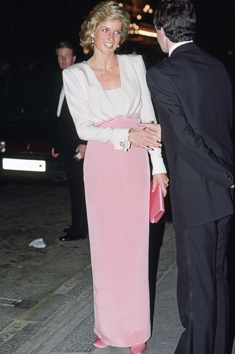 Diana wore a pink and white dress by Catherine Walker to a ballet performance in London.