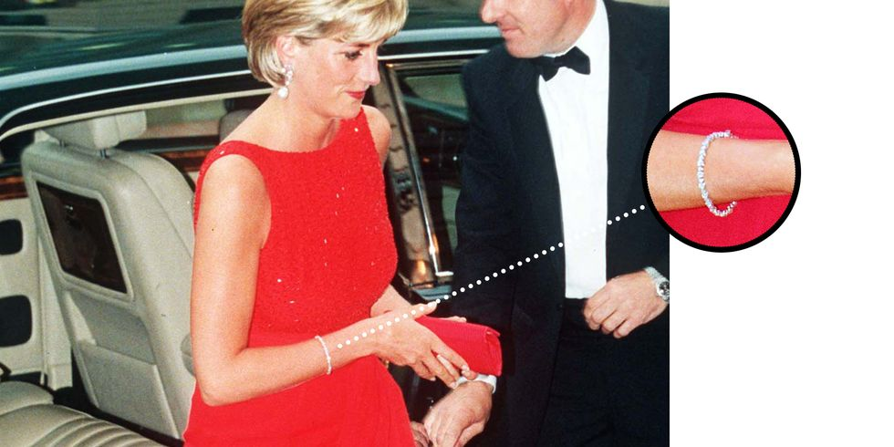 Diana Wearing It on June 17, 1997 in Washington, USA Princess Diana paired this slim diamond bracelet with the aquamarine ring  at the Christie's auction of her gowns, just like her daughter-in-law would do over two decades later. It was also worn at a Dinner to raise funds for The Anti-landmines Campaign at the National Museum of Women in the Arts in Washington just two months before her tragic death.