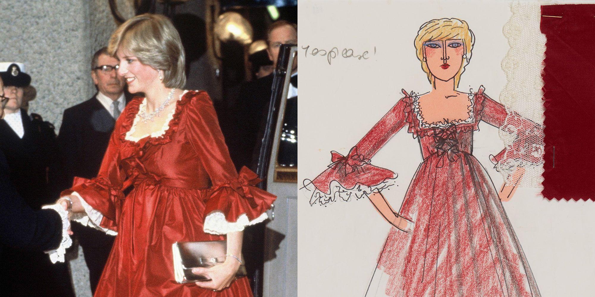 Rare Sketches of Princess Diana's Iconic Wardrobe Go on Display at Kensington Palace