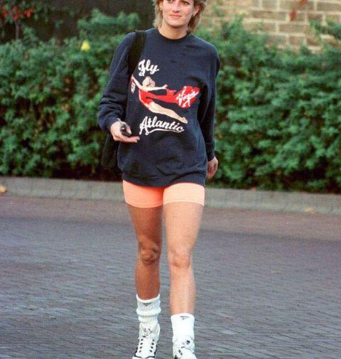 Princess Diana wears a Virgin Atlantic sweatshirt for the gym
