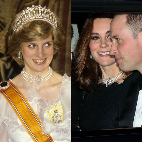 princess diana kate middleton pearl four string choker