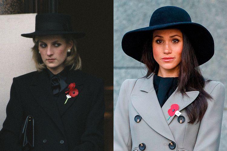 princess diana meghan markle black hats