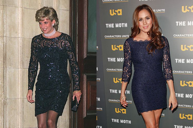 princess diana meghan markle blue lace dresses