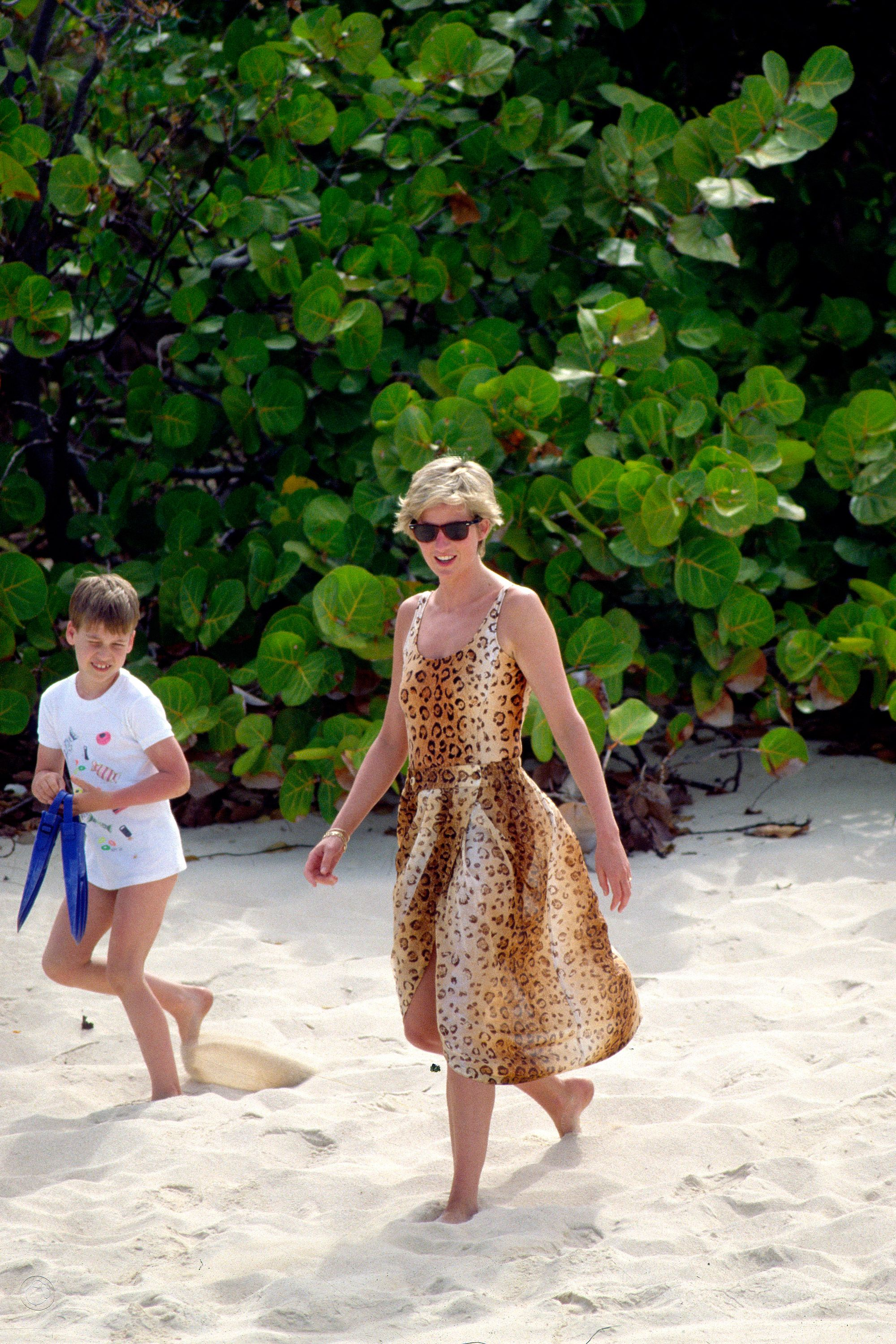 Princess Diana and Prince William on Necker Island