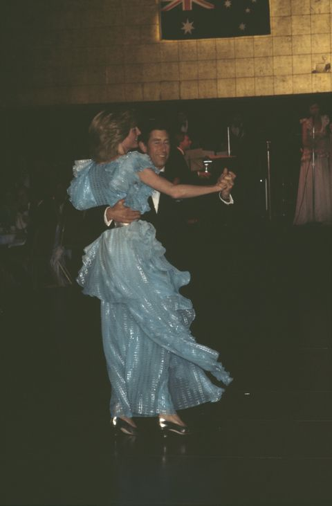 diana, princess of wales 1961   1997 and prince charles dancing at a gala dinner and dance at the wentworth hotel in sydney, australia, march 1983 diana is wearing a blue gown by bruce oldfield photo by jayne fincherprincess diana archivegetty images