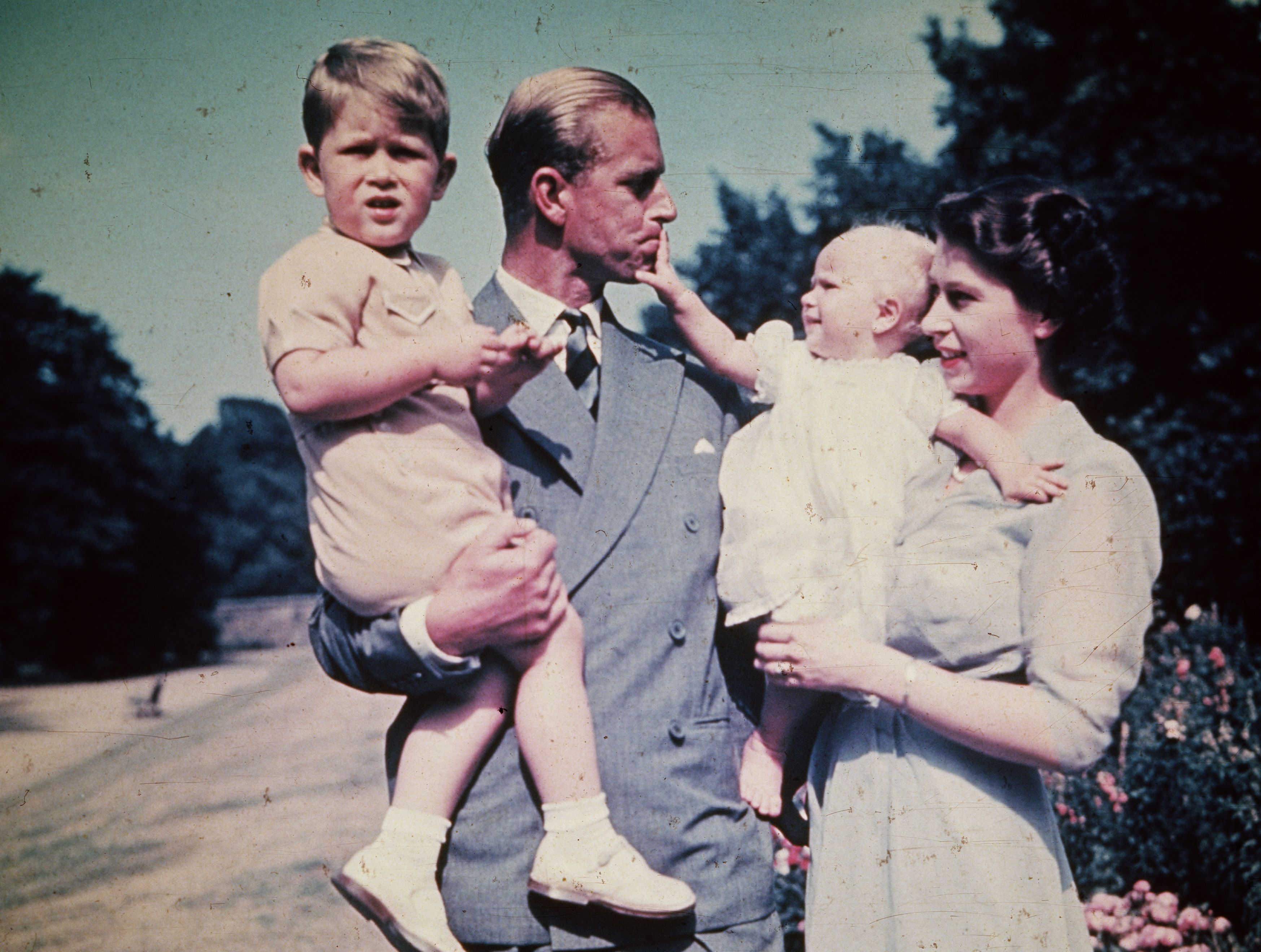 Then-Princess Elizabeth with Prince Philip and their two children, Charles and Anne, in 1951.