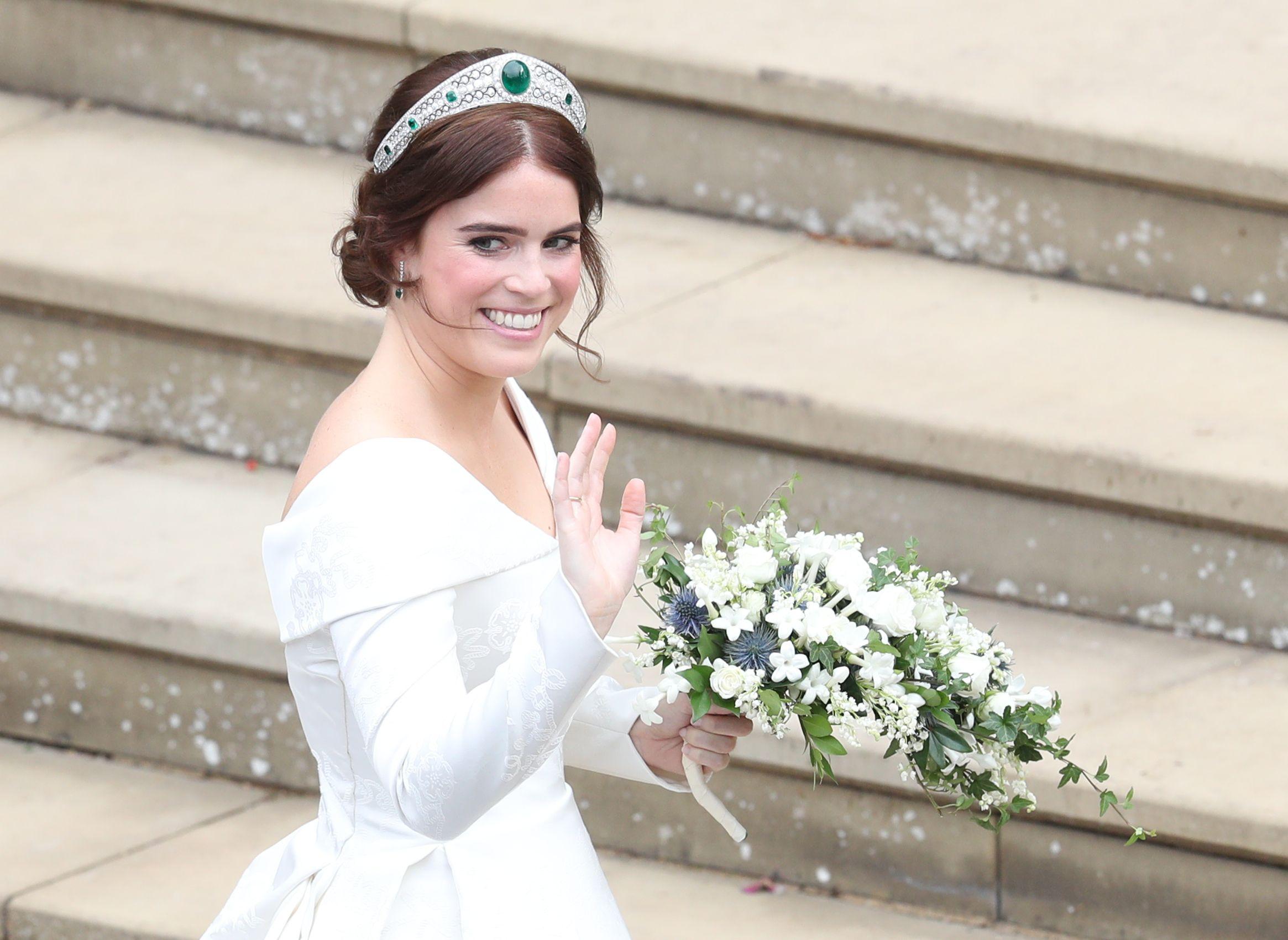 See Princess Eugenie S Reception Dress Princess Eugenie And Jack