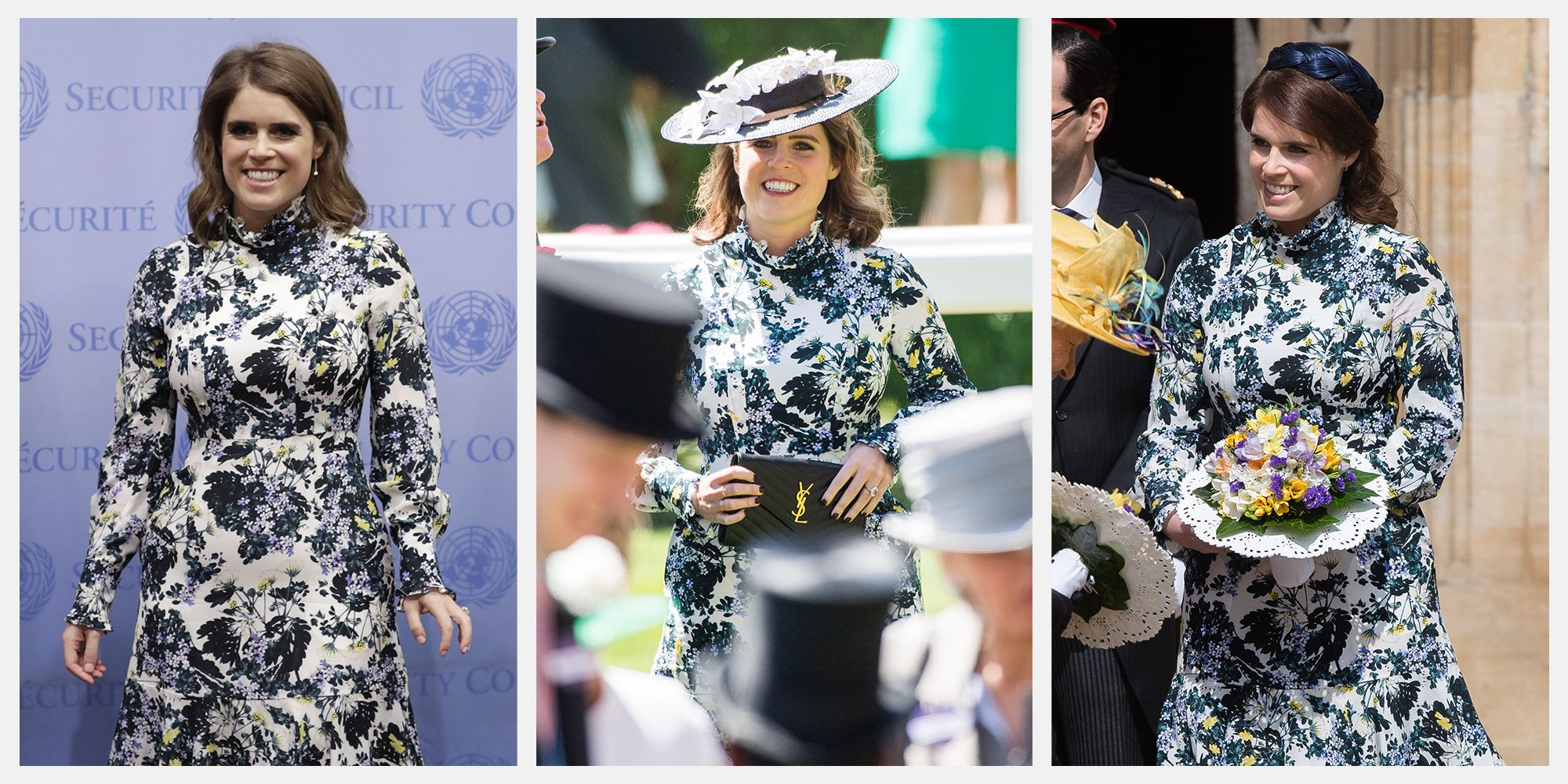 Princess Eugenie at the UN (left) Royal Ascot (center) and Maundy Thursday (right).