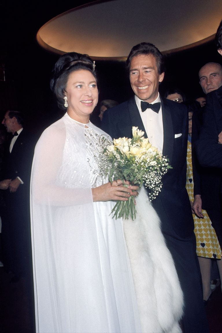 Princess Margaret wore a white caped gown with sequined detailing to a ballet performance she attended with her husband, Antony Armstrong-Jones, in New York.