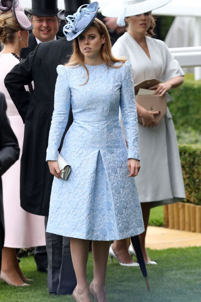 Princess Beatrice looked stunning in a pastel blue Claire Mischevani dress and Juliette Botterill fascinator at the opening day of Royal Ascot .