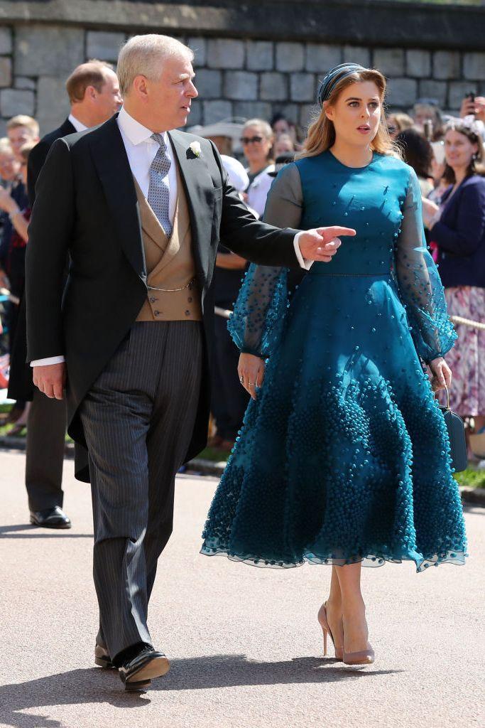 Princess Beatrice wearing a bespoke Roksanda Viola dress in hand dyed teal silk organza at the royal wedding.