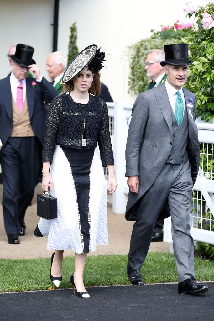 Princess Beatrice wore a black and white dress designed by Jonathan Simkai and a matching saucer hat by Sally-Ann Provan to day three of Royal Ascot.