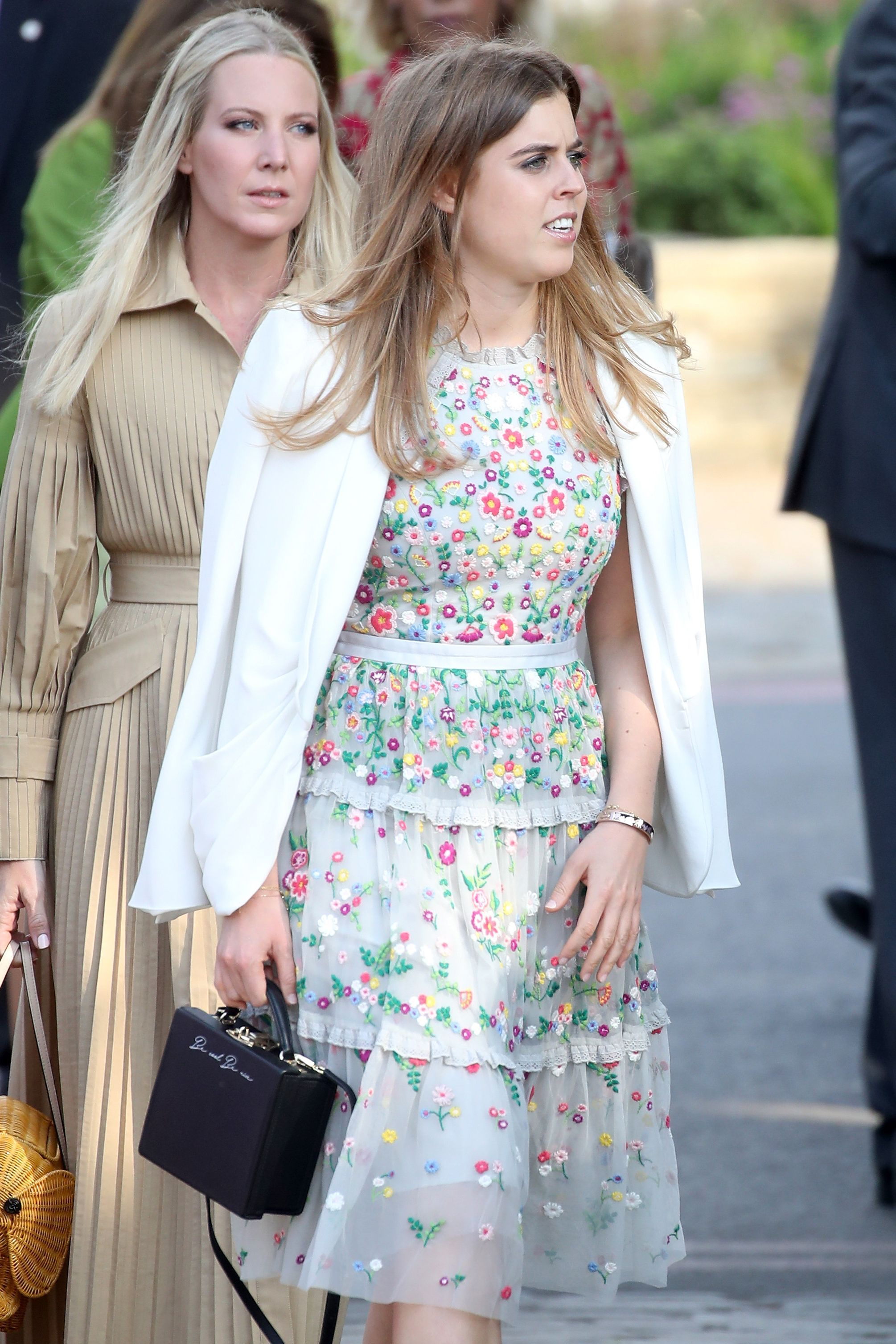 Princess Beatrice of York wore a tulle dress with little floral details to the 2018 Chelsea Flower Show in London.