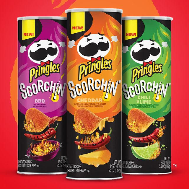 pringles scorchin' cheddar, bbq, and chili  lime chips flavors