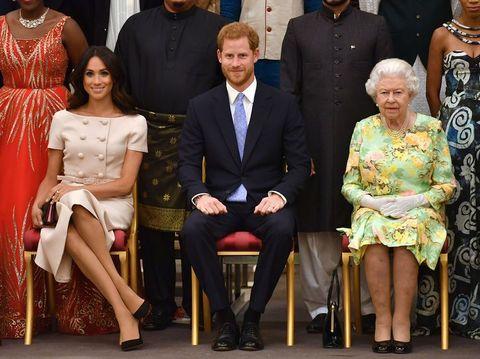 Prins Harry, Meghan Markle en Queen Elizabeth op een royal event