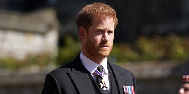 windsor, england   april 17 prince harry arrives for the funeral of prince philip, duke of edinburgh at st george's chapel at windsor castle on april 17, 2021 in windsor, england prince philip of greece and denmark was born 10 june 1921, in greece he served in the british royal navy and fought in wwii he married the then princess elizabeth on 20 november 1947 and was created duke of edinburgh, earl of merioneth, and baron greenwich by king vi he served as prince consort to queen elizabeth ii until his death on april 9 2021, months short of his 100th birthday his funeral takes place today at windsor castle with only 30 guests invited due to coronavirus pandemic restrictions photo by victoria jones   wpa poolgetty images