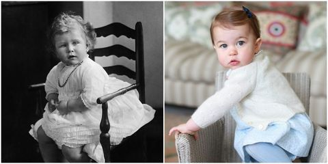 op deze foto's lijkt prinses charlotte op queen elizabeth