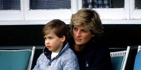 Prins William en Prinses Diana bij Polo