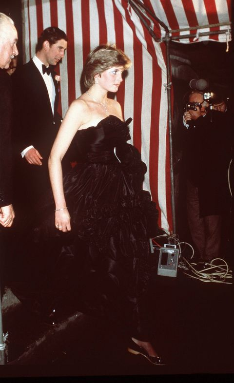 london, united kingdom   march 09  lady diana spencer and prince charles at goldsmiths hall in london in march 1981 on their first evening outing in public black taffeta evening dress designed by fashion designers the emanuels  photo by tim graham photo library via getty images
