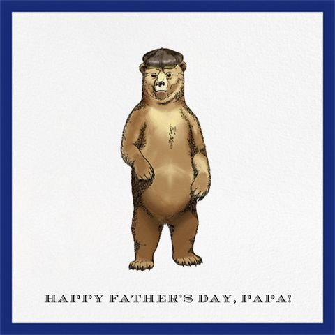 a fathers day card with a drawing of a brown bear wearing a drivers hat