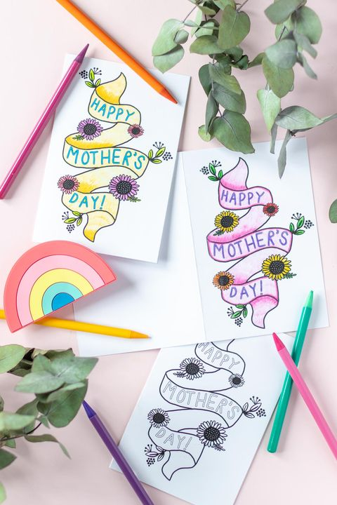 printable mothers day card coloring page