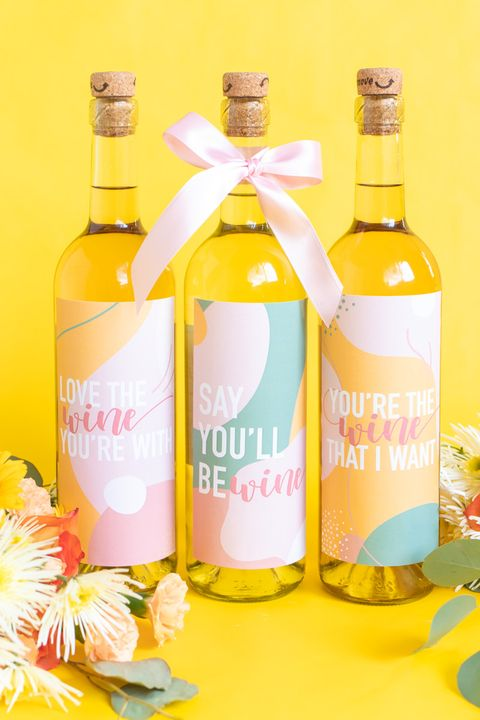 wine bottle labels valentines day crafts