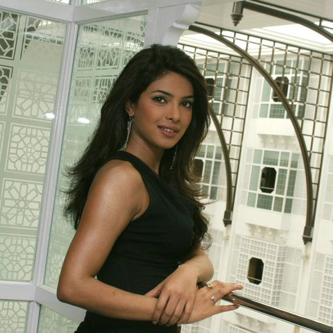 priyanka chopra, actress on  the sets of seedhi baat, a popular tv show aired on aaj tak in mumbai, maharashtra, india