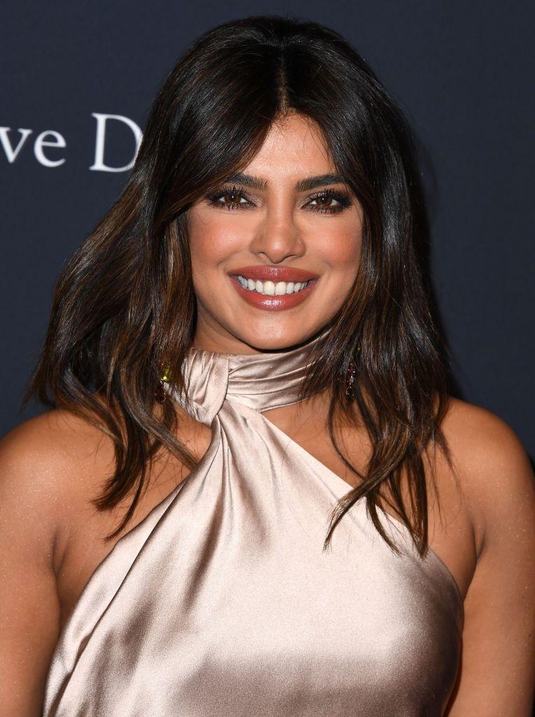 Priyanka Chopra Wore a Sexy High-Neck Gown to the Pre-Grammys Gala
