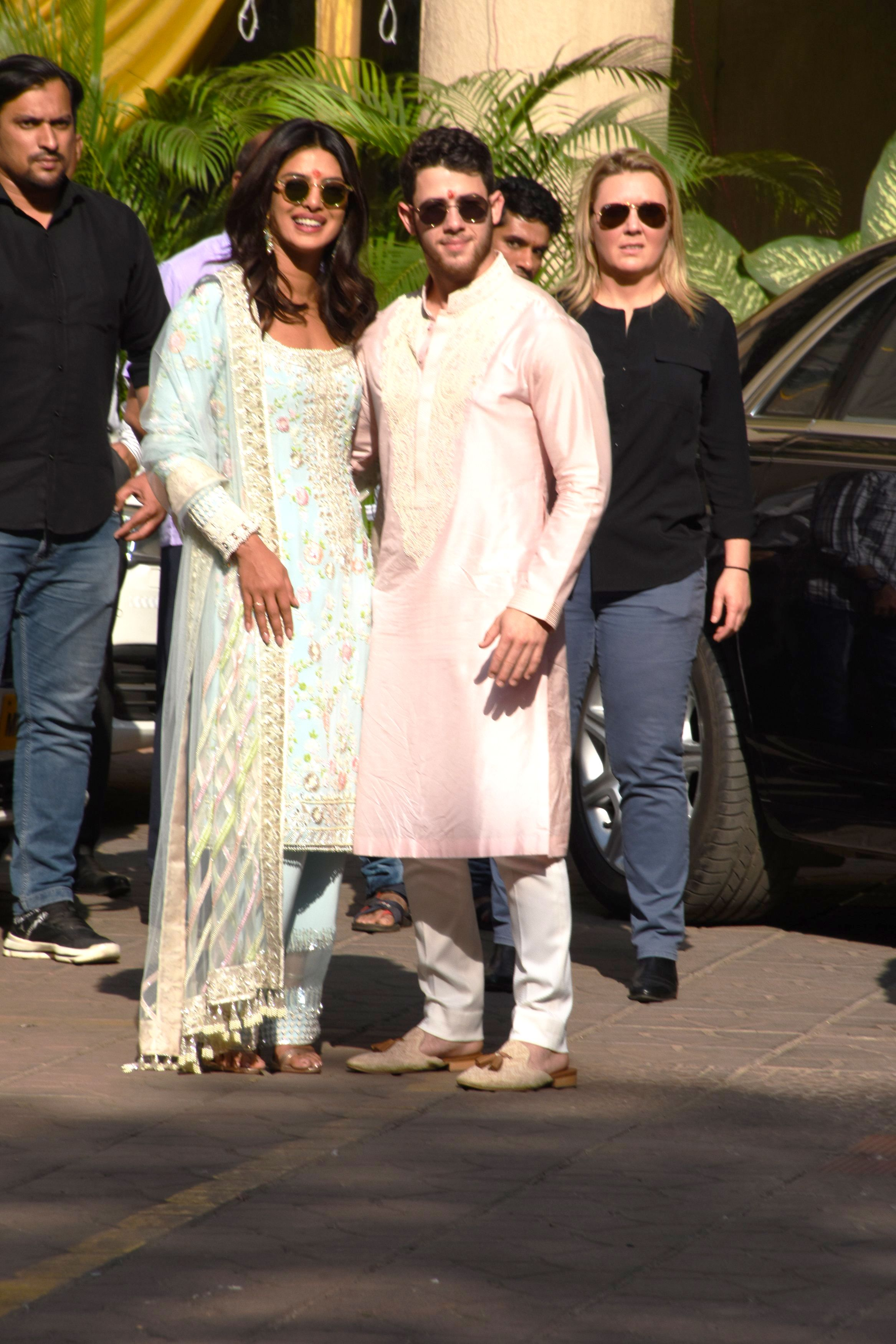 efb4fb48b9 Priyanka Chopra Wore a Blue Traditional Indian Suit for Her Pre-Wedding Puja