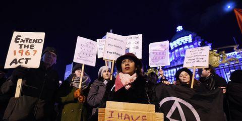 Pro-choice demonstrators in Belfast, Northern Ireland