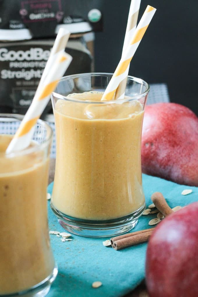 Probiotic Pumpkin Pear Smoothie Do something good for your gut with an anti-inflammatory smoothie that's as sweet as Halloween candy—minus the refined sugar. Get the recipe Per serving: 327 calories, 3 g fat (1 g saturated), 71 g carbs, 36 g sugar, 83 mg sodium, 13 g fiber, 6 g protein