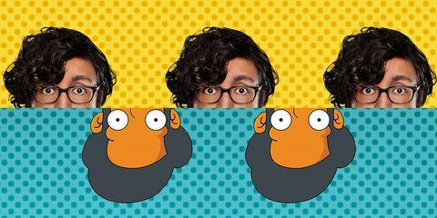 Animated cartoon, Hair, Cartoon, Nose, Cheek, Illustration, Glasses, Eyewear, Facial hair, Fun,