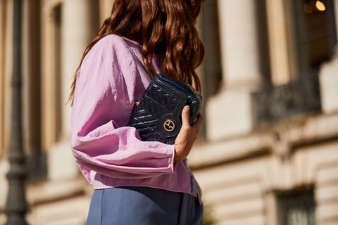 Street fashion, Shoulder, Pink, Clothing, Fashion, Beauty, Hairstyle, Waist, Joint, Neck,