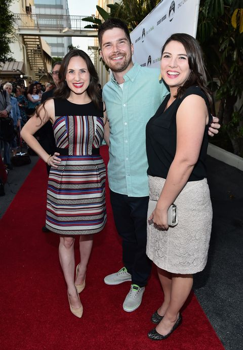 taylor jenkins reid with her husband alex jenkins reid and producer natalia anderson in 2015