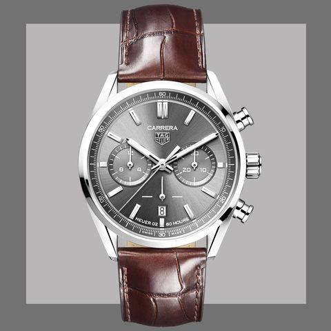 the carrera with a gray sunray dial and brown alligator strap