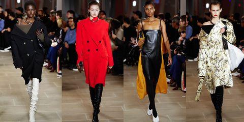 Fashion model, Fashion, Runway, Fashion show, Clothing, Haute couture, Event, Footwear, Fashion design, Outerwear,