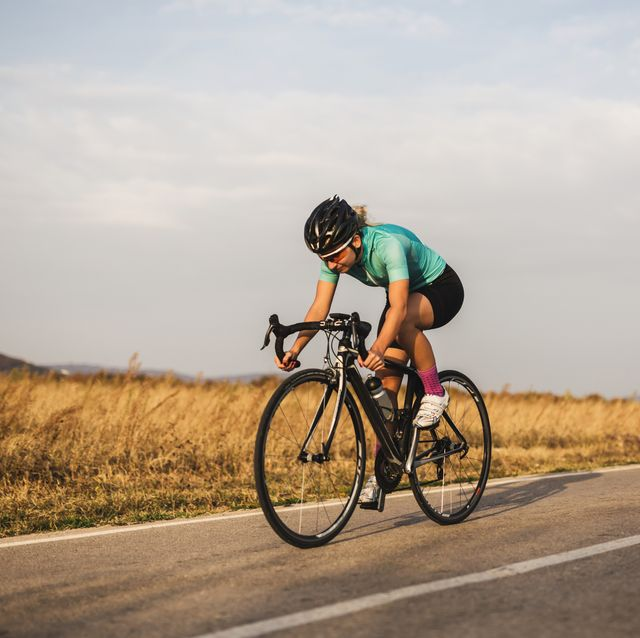 female cyclist on the road