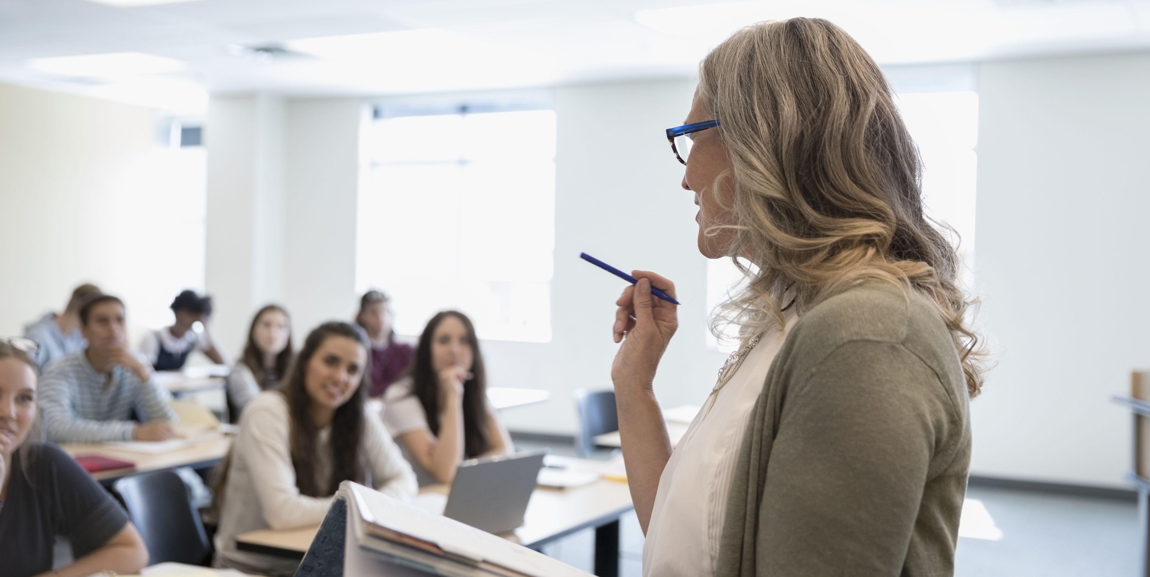 Professor leading lesson in classroom