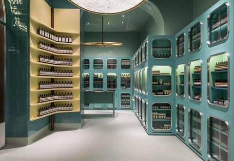 Interior design, Ceiling, Space, Teal, Machine, Collection,